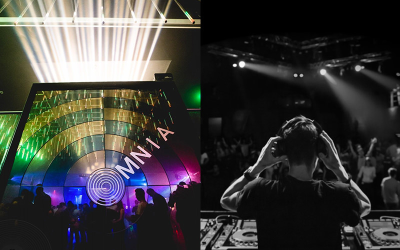 A split image, one of a DJ performing to a crowd and one of one of the club nights in Fusion nightclub