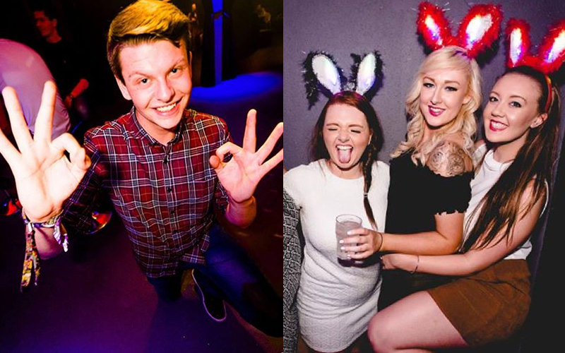A split image, one of a boy holding his hands up and one of three girls posing wearing bunny ears