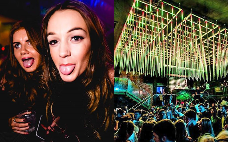 A split image, one of two girls sticking their tongues out and one of a huge club night filled with people, at Fusion nightclub