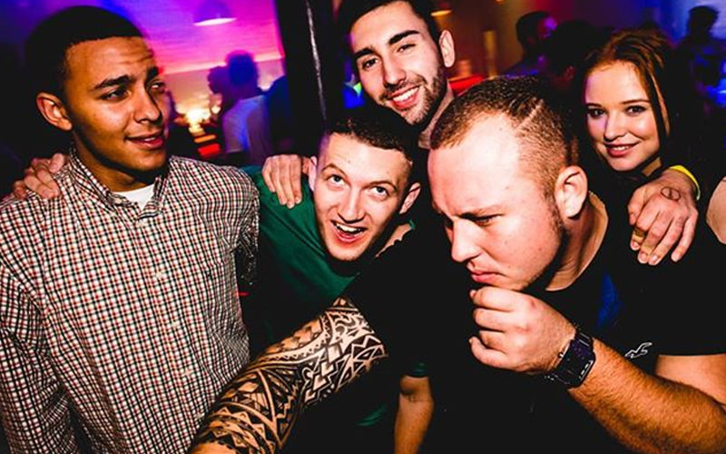 Four men and a woman on a night out in Fusion nightclub