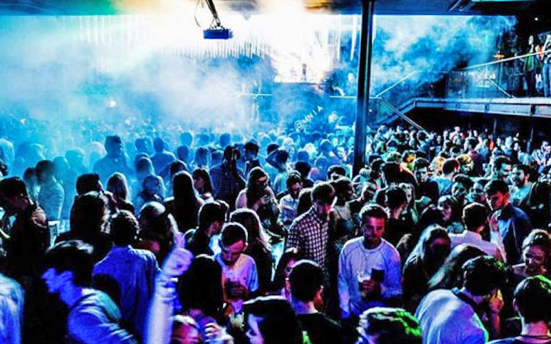 One of Fusion's massive club nights, filled with young people socialising and drinking