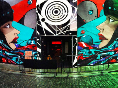 The exterior artwork on Fusion nightclub