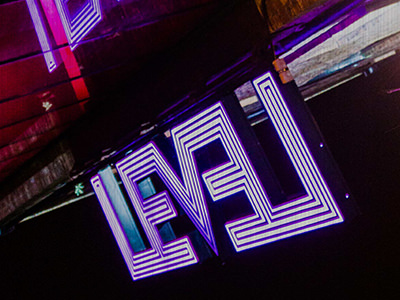 Level nightclub logo mounted on the wall