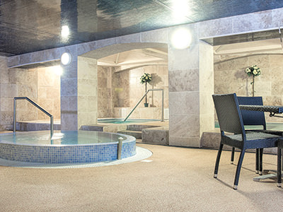 The interiors of Esk Fitness spa, with Jacuzzi and seating in foreground