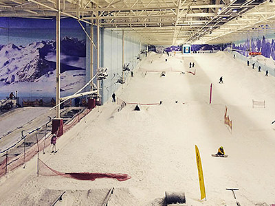 A skiing slope inside Manchesters Chill Factore