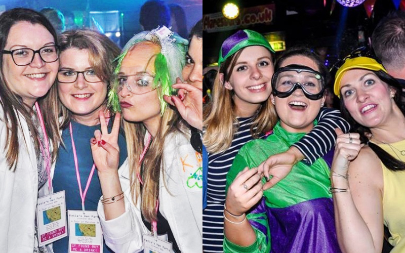 Two split images, both of two groups of girls dressed up in fancy dress whilst out partying