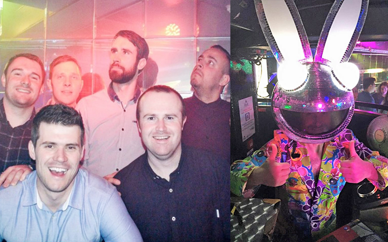 A split image, one of a group of lads at Flares nightclub and one of a man dressed in fancy dress with a disco ball bunny head on