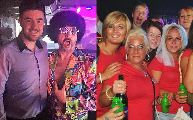 A split image, one of two men in Flares and one of a group of hens in the nightclub