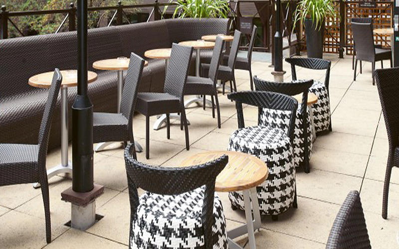 Different types of seating and tables in an outdoor terrace during the day