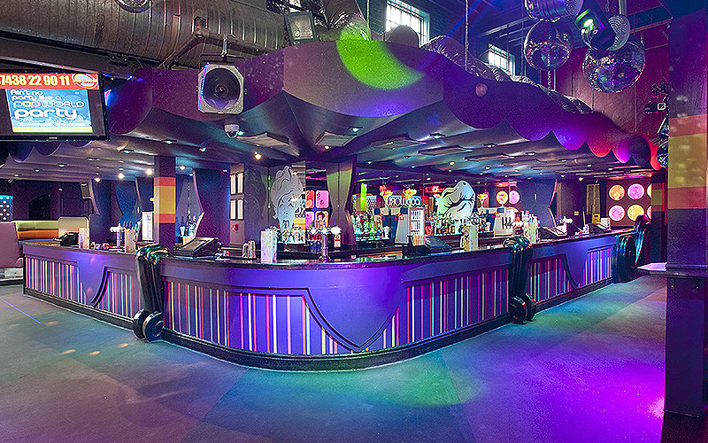 The purple bar at Pop World, Liverpool