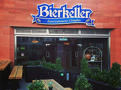 The exterior of the Bierkeller, Manchester, during the day