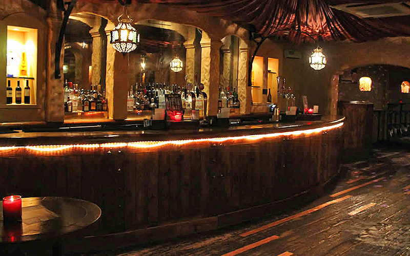 The wooden bar at Revolution Wood Street, Liverpool