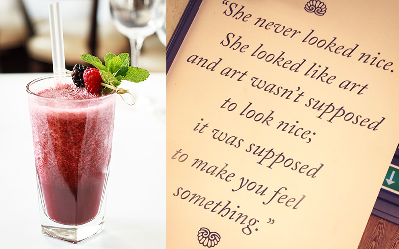 Split image of a red cocktail and a framed quote