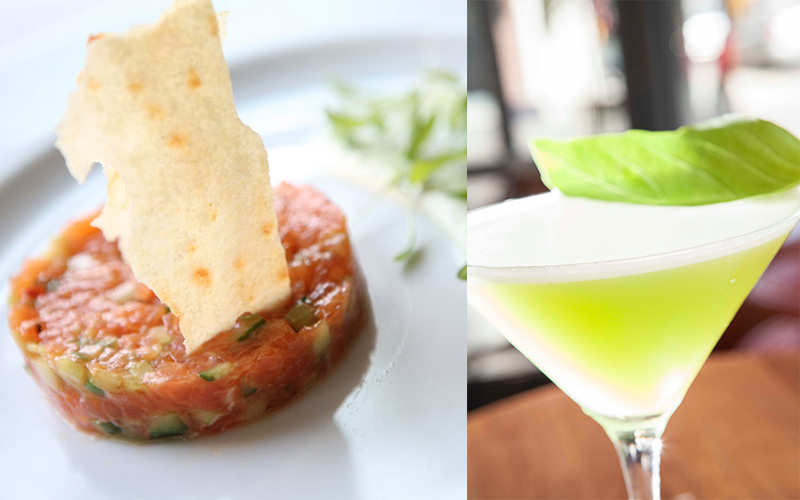 Split image of food on a plate and a green cocktail