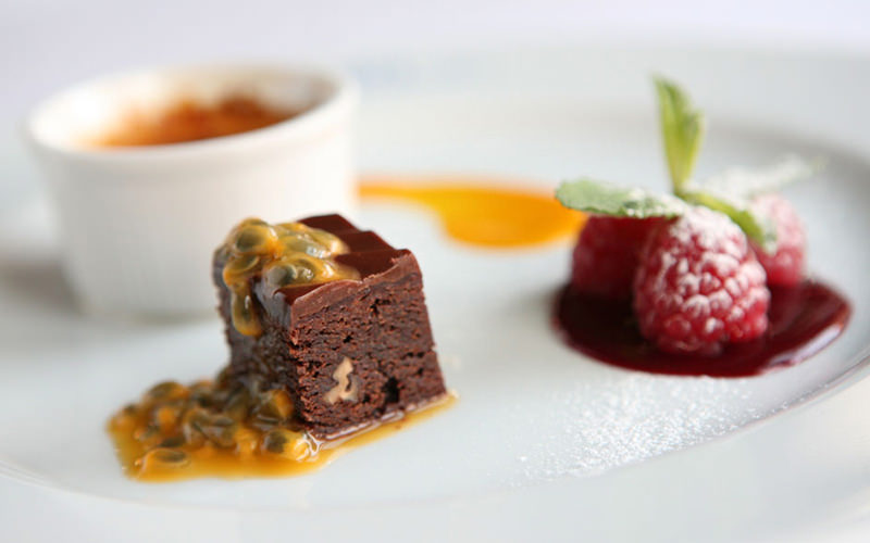 small chocolate brownie, raspberry, creme brulee