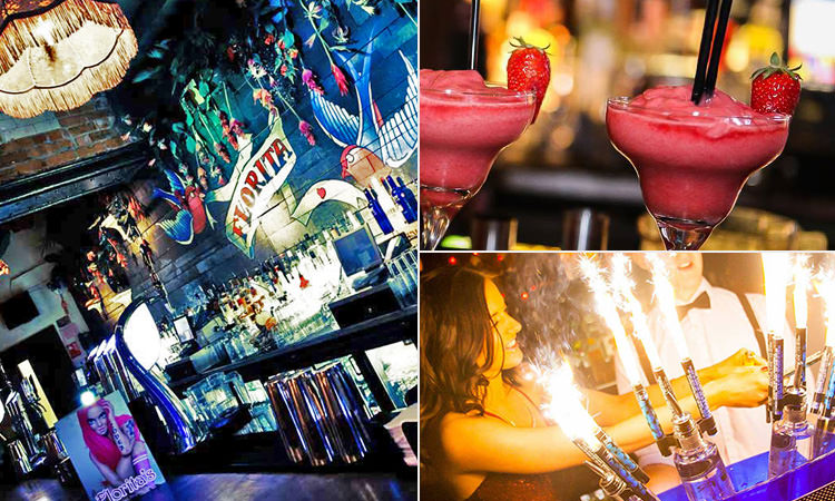 Three images of Florita's, Newcastle - icnluding the main bar, strawberry cocktails and a barmaid serving champagne with sparklers