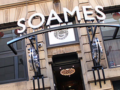The exterior of Grosvenor Casino, with Soames written above the doorway