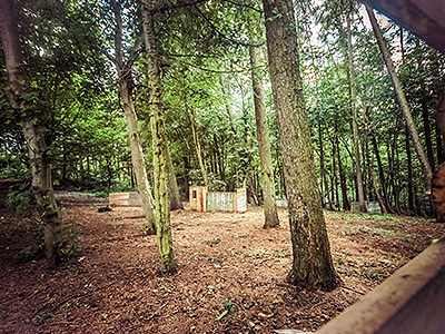 An outdoor paintball zone, with a small hut in the middle of the clearing in the forest