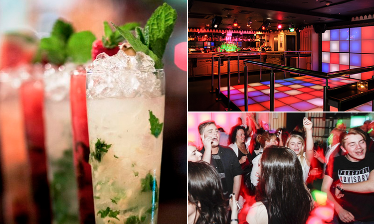 Three images of Strawberry Moons, in London - including an image of cocktails, people dancing and a dancefloor