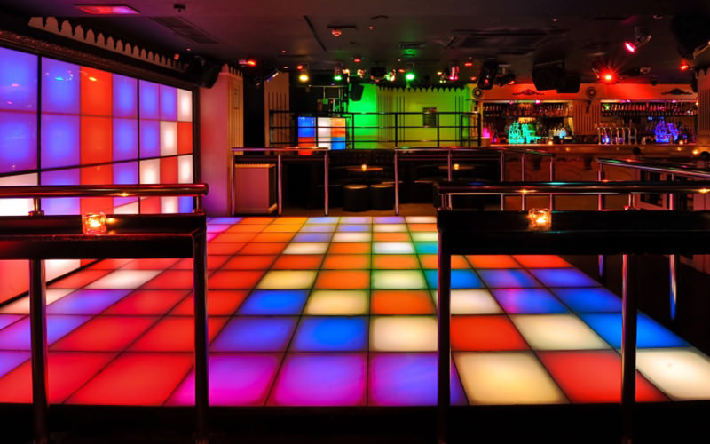 Multi-coloured light up dance floor at Strawberry Moons, London