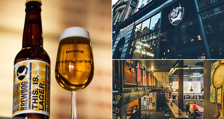 Three tiled images of Brewdog's own lager, and exterior and interior of bar