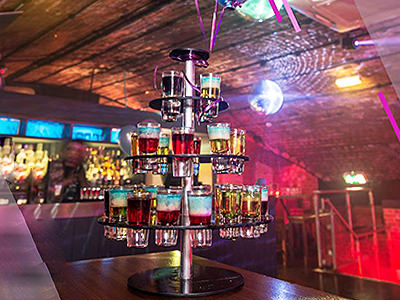 A tower of shots on a table in Baa Bar, Manchester