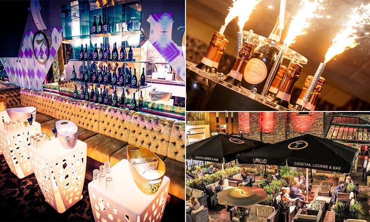 Three images of Livello, Newcastle - including one of the interior, the outdoor terrace and champagne with sparklers