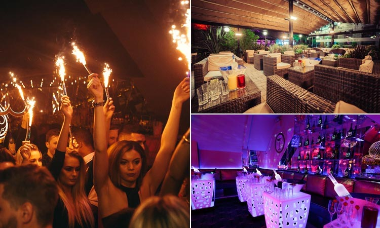 Three tiled images, including Livello's expansive beer garden, the exclusive upstairs bar and champagne with sparklers flaming